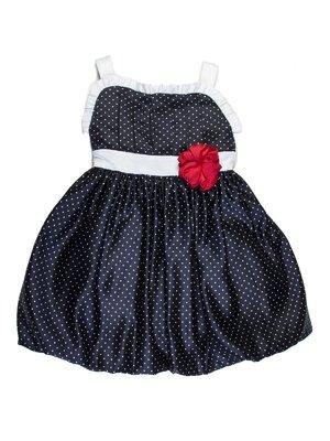 Сукня темно-синя в горох з рюшами і декоративною квіткою | 727772