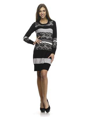 Платье трехцветное в полоску с ажурной отделкой | 768482