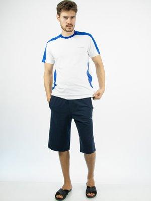 Футболка белая с ярко-синим спортивная | 20590