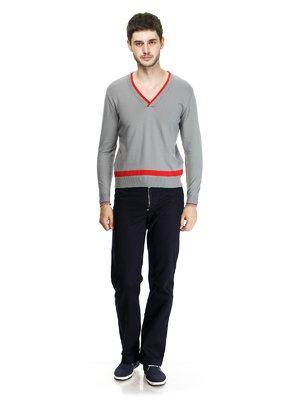 Пуловер серый с контрастной отделкой | 93304