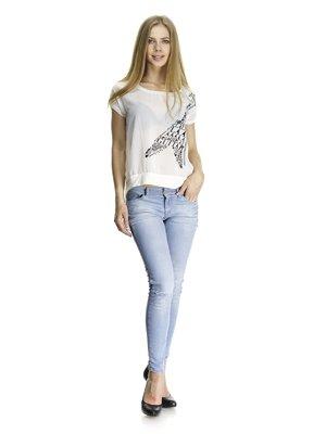 Блуза белая комбинированная с контрастным принтом | 405769