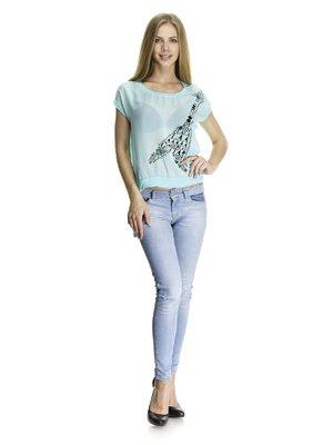 Блуза светло-бирюзовая комбинированная с контрастным принтом | 405770