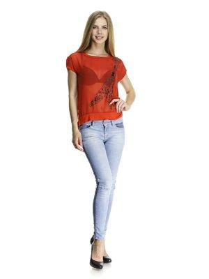 Блуза красная комбинированная с контрастным принтом | 405771