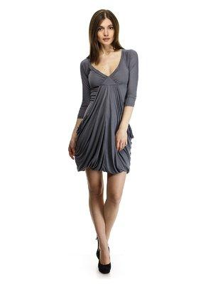 Платье темно-серое с драпировкой   30771