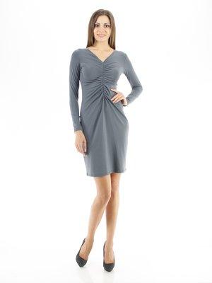 Платье серое со сборками   30774