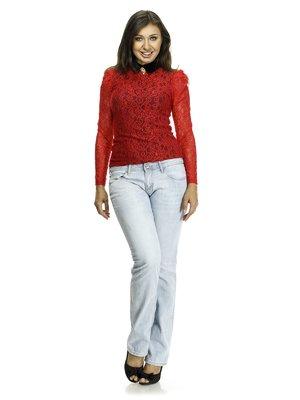 Блуза двоколірна ажурна з декором   521335