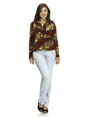 Блуза красно-желтая в принт | 521342