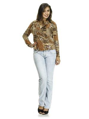 Блуза бежевая в принт | 521343