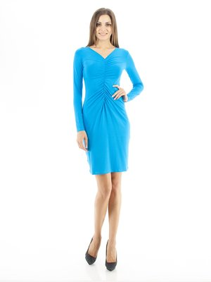 Платье бирюзовое со сборками   30776