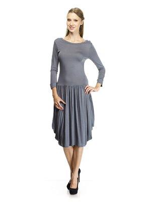 Платье серое со сборками   30777