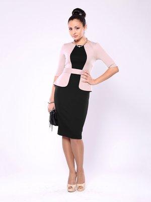 Платье черно-бежевое со стилизованным жакетом | 759034