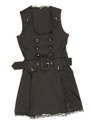 Сукня чорна з гіпюровим оздобленням і поясом | 629113