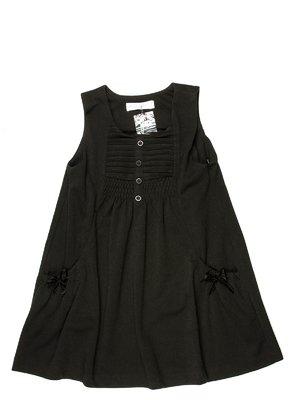Сарафан чорний з горизонтальними застроченными складками і кишенями | 513986