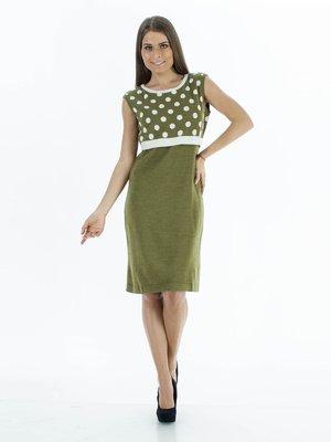 Платье оливкового цвета с лифом в крупный горох | 30801