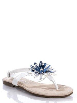 Сандалии-вьетнамки белые, декорированные цветком   363459