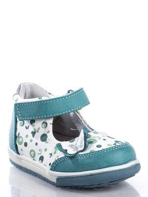 Туфли бело-голубые в принт, украшенные бабочкой | 363463