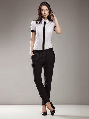 Блуза біла з контрастним оздобленням | 555549