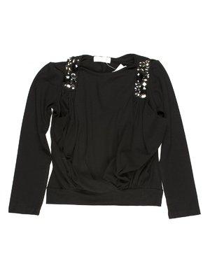 Джемпер чорний зі стилізованим декорованим жилетом | 649140