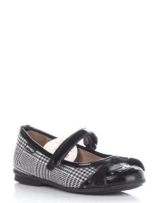 Туфли в гусиную лапку с бантиком | 677921