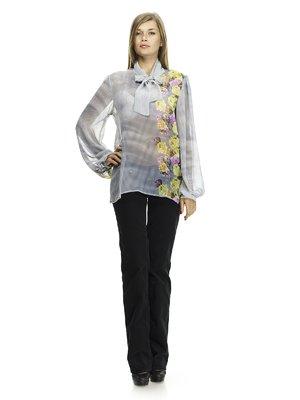 Блуза сіра в комбінований принт | 541183