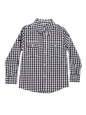 Сорочка в клітинку чорно-біла з аплікацією | 754890
