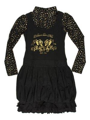 Платье черное, стилизованное под кофту-поло и сарафан | 649181