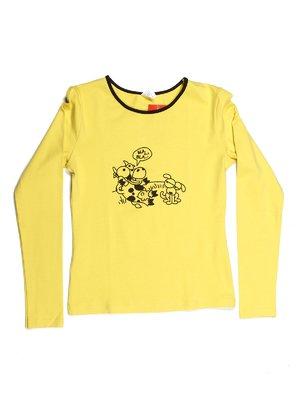 Лонгслів жовтий з принтом   544037