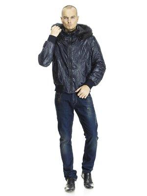 Куртка синяя пуховая с отороченным мехом капюшоном   662167