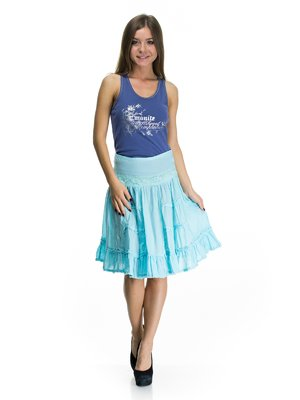 Юбка бирюзово-голубая с кружевной отделкой | 75044