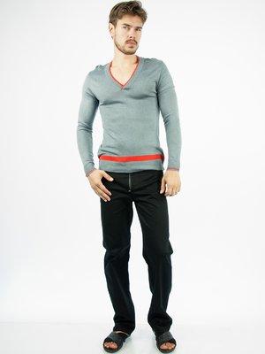 Пуловер серый с контрастной отделкой | 28754