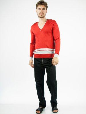 Пуловер красный с контрастной отделкой | 28755