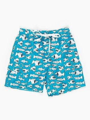 Шорти блакитні в кумедний принт пляжно-купальні | 467874