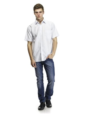 Рубашка бело-голубая | 418363