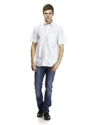 Рубашка бело-голубая | 418364
