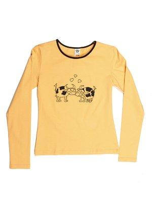 Лонгслив желтый с принтом | 544046
