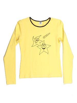 Лонгслів жовтий з принтом   544050