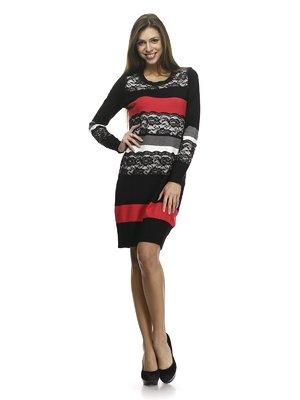 Сукня триколірна в смужку з ажурним оздобленням | 768479