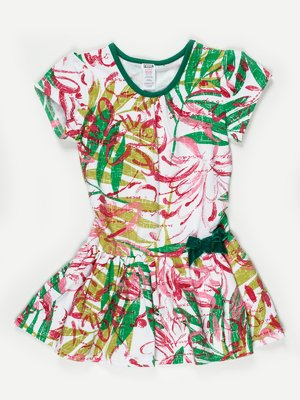 Платье белое в абстрактный принт с бантиком | 467882