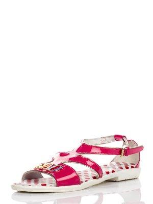 Босоножки ярко-розовые с декором | 476575