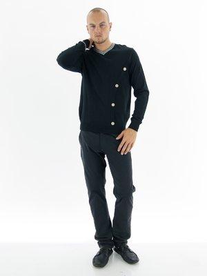 Пуловер черный с декором и контрастной отделкой | 28769