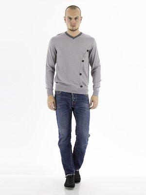 Пуловер светло-серый с декором и контрастной отделкой | 28770