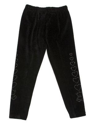 Легінси чорні велюрові з декором | 576733