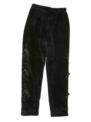 Легінси чорні велюрові з декором | 576734