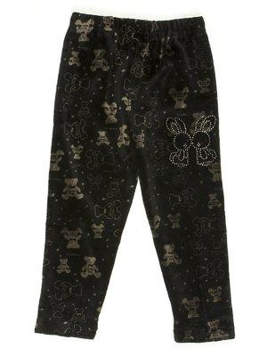 Легінси чорні велюрові в малюнок з декором | 576735