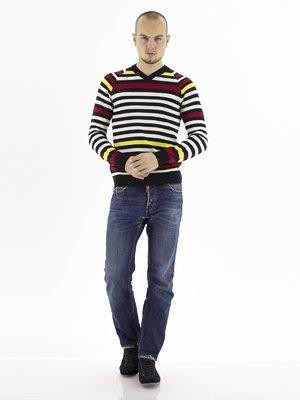 Пуловер в цветную полоску   28776