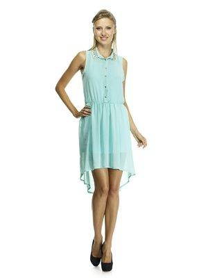 Платье светло-зеленое с оригинальной отделкой воротничка и асимметричным подолом   492886