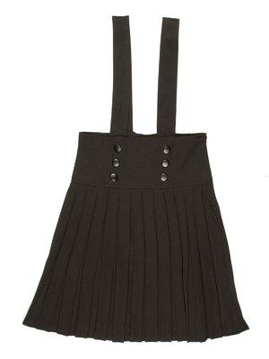 Юбка-плиссе черная с подтяжками и шнуровкой | 514109