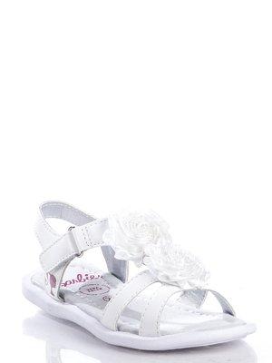 Босоножки белые с декоративными розами | 363427