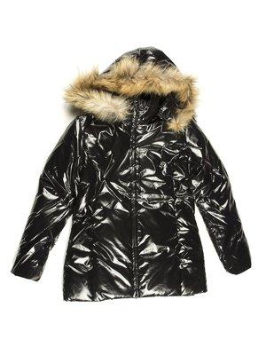 Пальто чорне утеплене | 712183