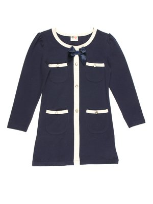 Сукня темно-синя з контрастним оздобленням і накладними кишенями | 677882